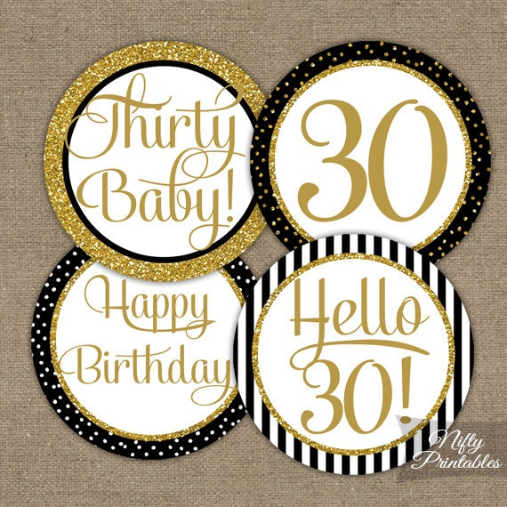 30th Birthday Cupcake Toppers Black Gold Party Decorations