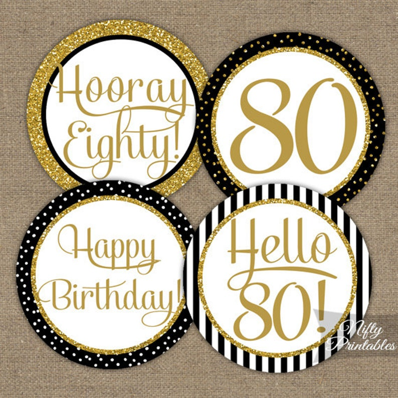 80th Birthday Cupcake Toppers Black Gold Party