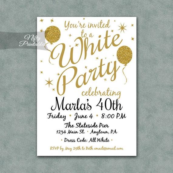 white party invitation printable white gold black tie etsy