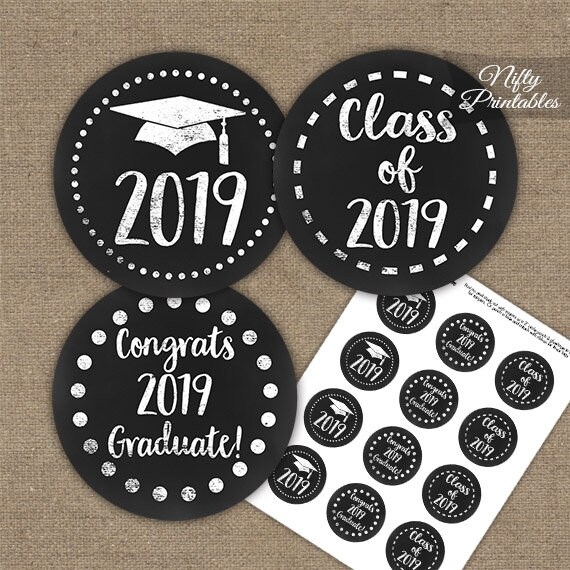 image relating to Printable Graduation Decorations identified as Commencement Cupcake Toppers - Printable 2019 Commencement Decorations - Black White Cl of 2019 Grad Celebration Printable - Chalkboard