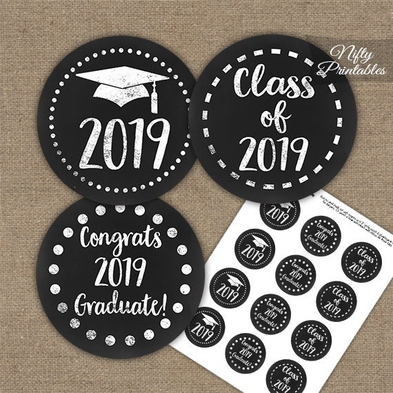 photo regarding Printable Graduation Decorations named Commencement Cupcake Toppers - Printable 2019 Commencement Decorations - Black White Cl of 2019 Grad Occasion Printable - Chalkboard