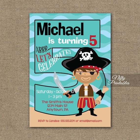 Boys 5th Birthday Invitation Pirate Invitations