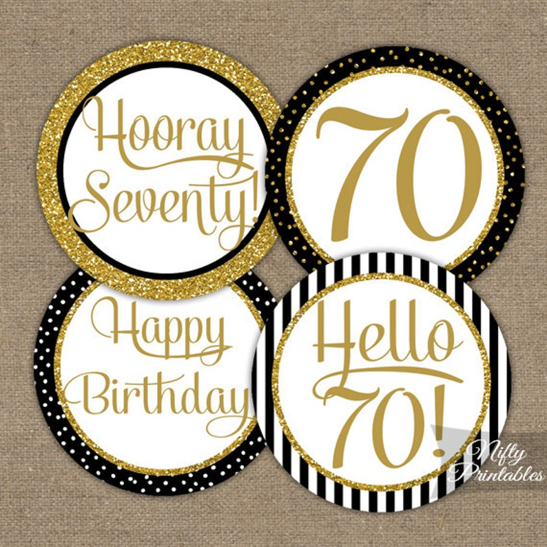 70th Birthday Cupcake Toppers Black Gold Party
