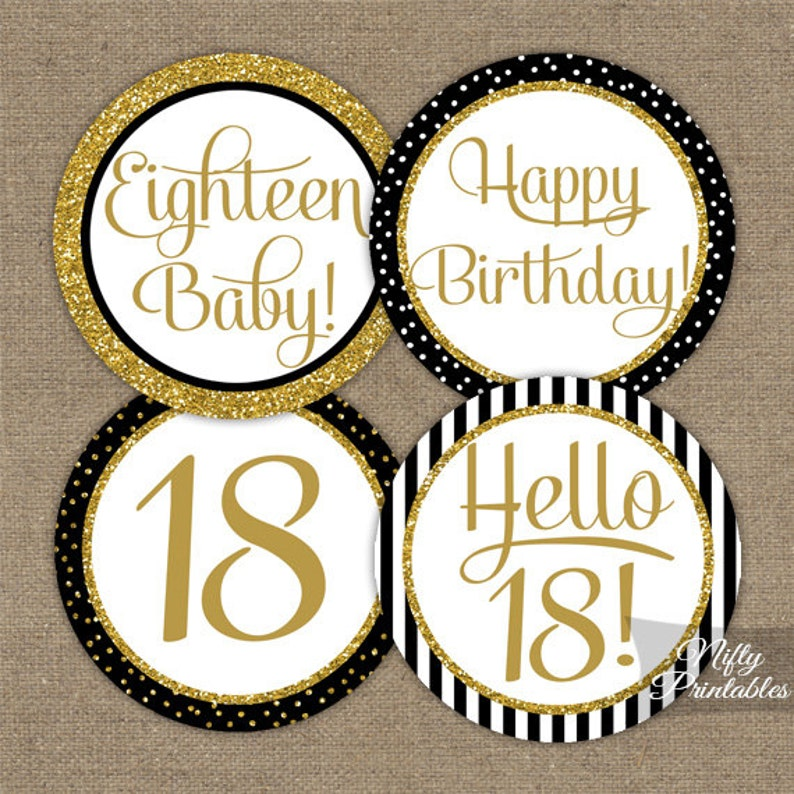 18th Birthday Cupcake Toppers Black Gold Glitter