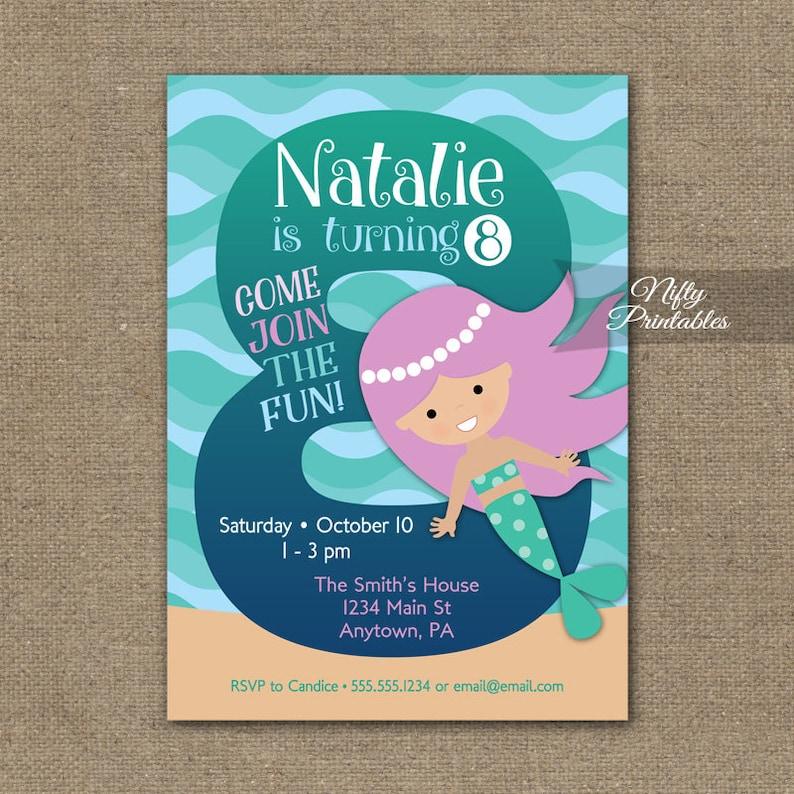 Mermaid Invitation 8th Birthday Invitations Girls