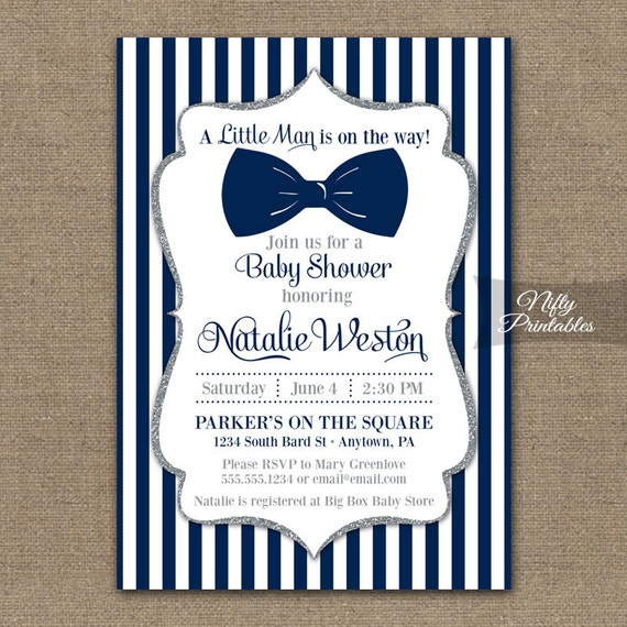 Bow tie baby shower invitations printable navy blue silver etsy image 0 filmwisefo