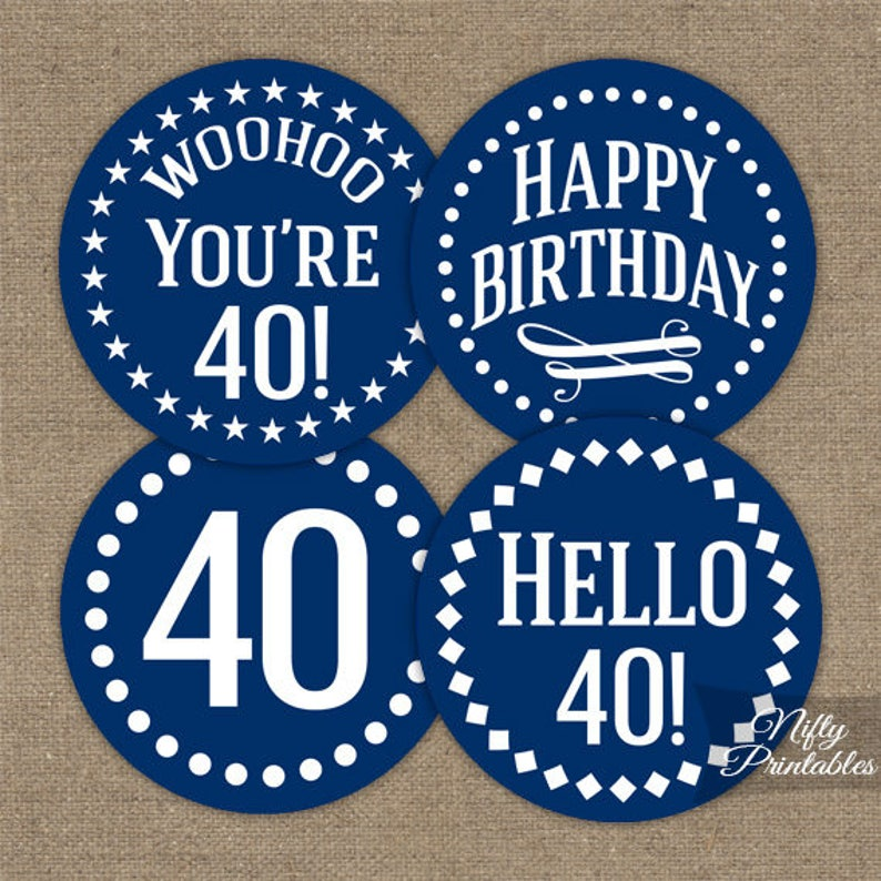 Navy Blue 40th Birthday Cupcake Toppers White