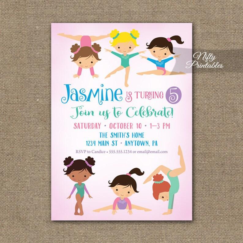 Gymnastics Birthday Invitation Pink Invitations