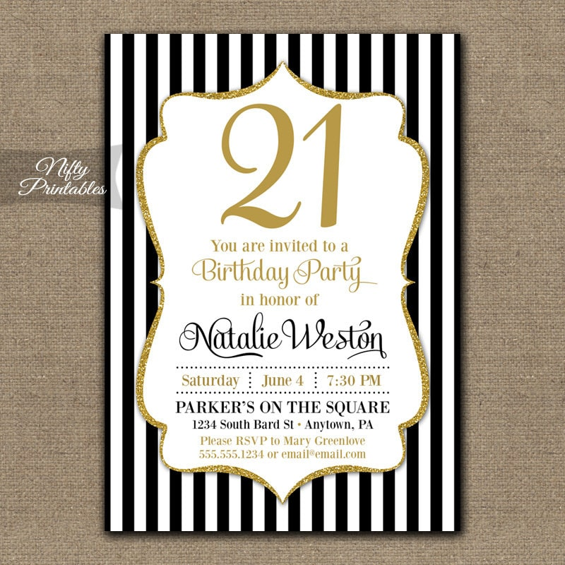 21st birthday invitations black gold glitter twenty etsy zoom filmwisefo