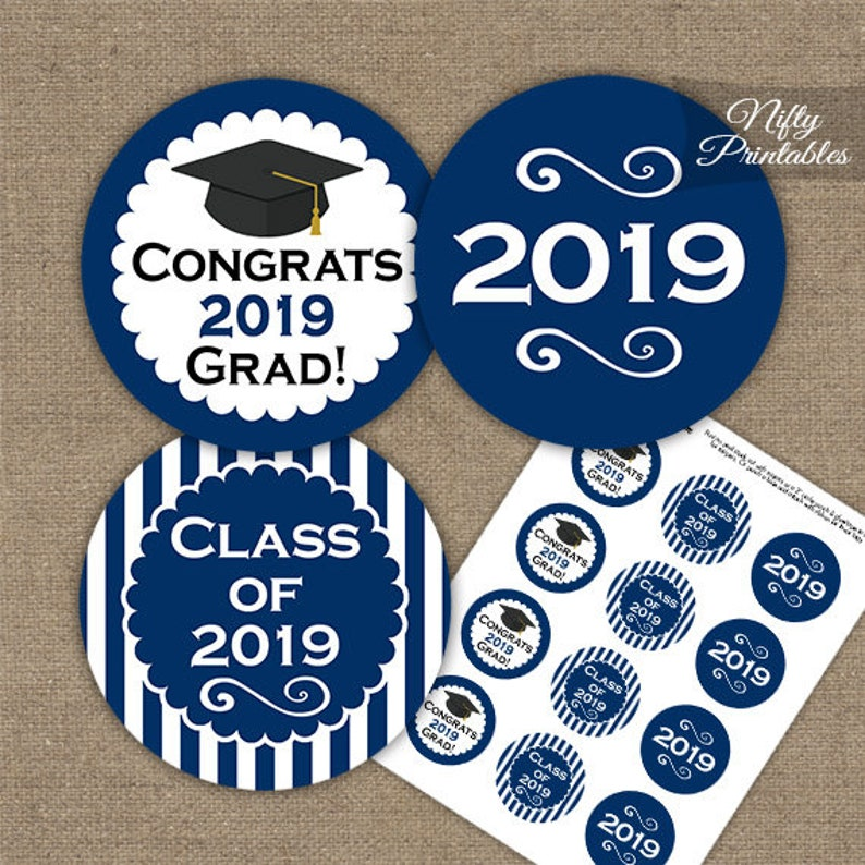 picture relating to Printable Graduation Decorations titled Blue Commencement Cupcake Toppers - Printable 2019 Commencement Decorations - Military Blue Cl of 2019 Commencement Occasion Printable