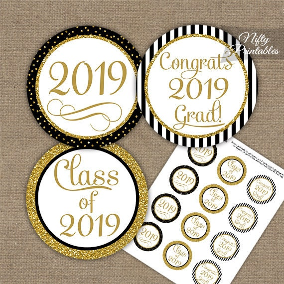 photo relating to Printable Graduation Decorations known as Commencement Cupcake Toppers - Black Gold Glitter Printable 2019 Commencement Celebration - Stylish Commencement Decorations - Prompt Down load BGL