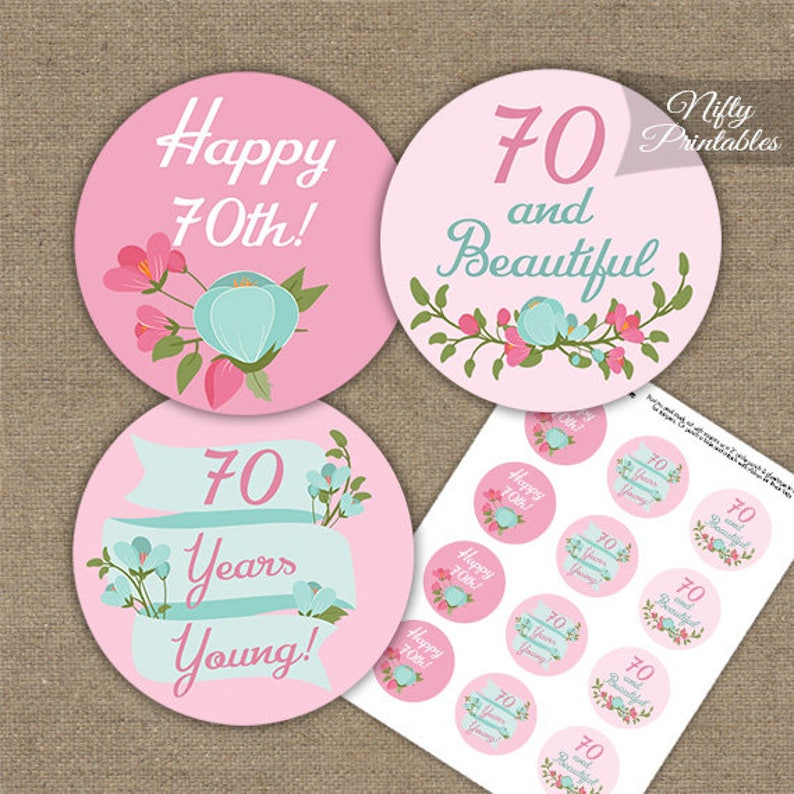 Ladies 70th Birthday Cupcake Toppers Pink Mint Floral 70