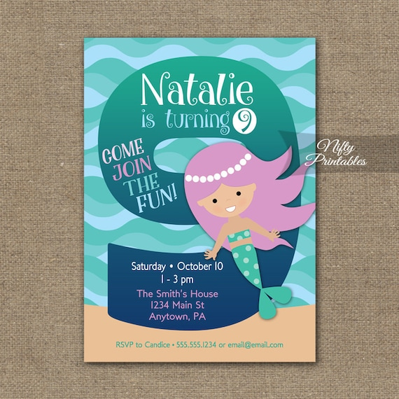 Mermaid Birthday Invitation 9th Invitations Girls