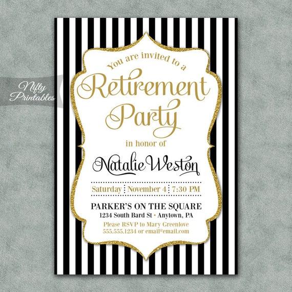 retirement party invitations printable black gold etsy