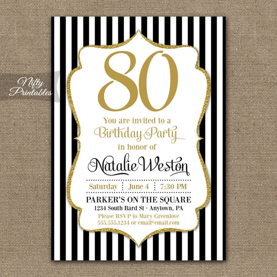 80th birthday invitations black gold glitter 80 year etsy
