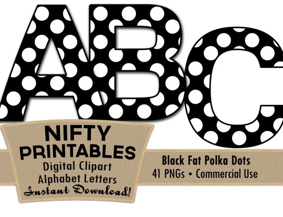 Black White Polka Dots Alphabet Letters Black Alphabet Set   Etsy