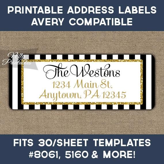 Printable Address Labels Black Gold Glitter Return Address