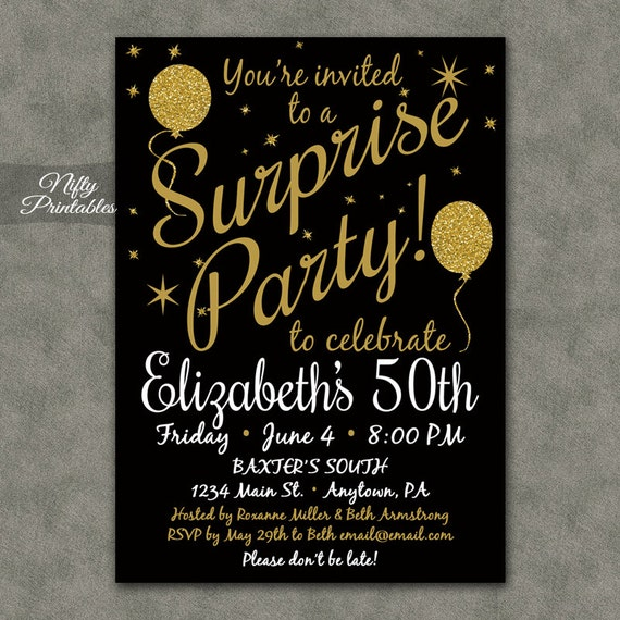 surprise party invitations printable black gold surprise etsy