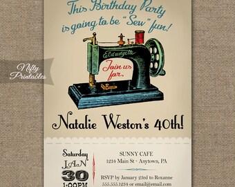 Sewing Birthday Invitations - Sewing Machine Birthday ANY AGE 30th 40th 50th 60th 70th 80th - Printable Seamstress Birthday Party Invites