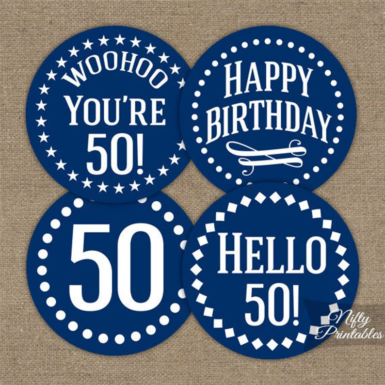 Navy Blue 50th Birthday Cupcake Toppers White