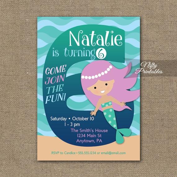 Mermaid Birthday Invitation 6th Invitations Girls
