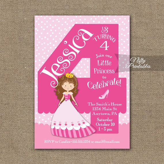 4th Birthday Princess Invitations Girls Invitation