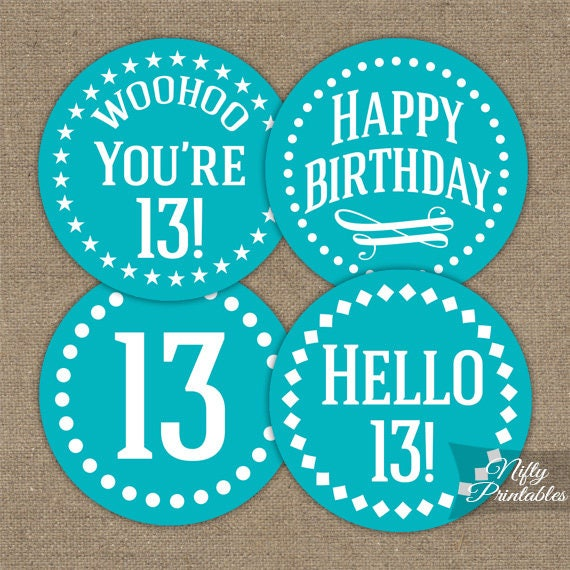 Turquoise 13th Birthday Cupcake Toppers
