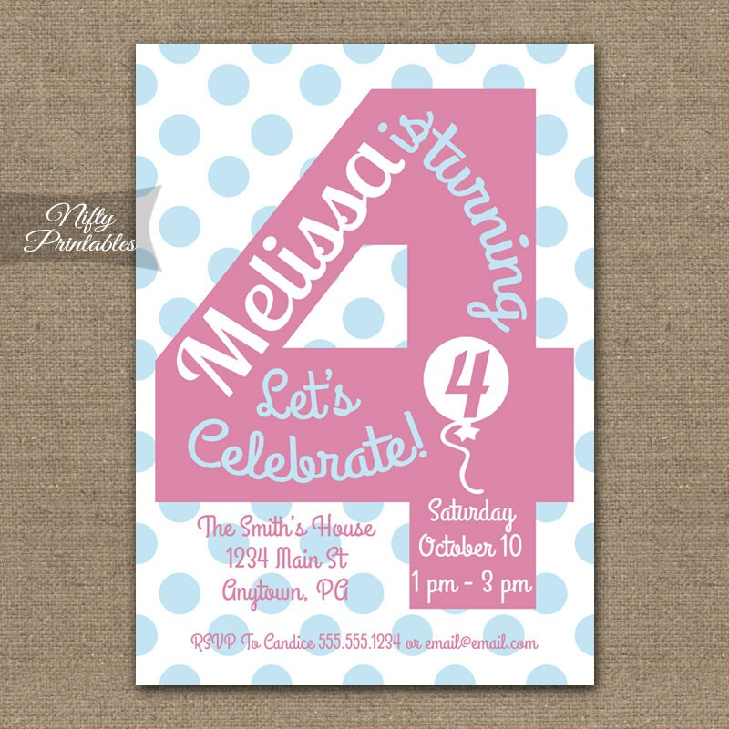 4th Birthday Invitations Printable Fourth
