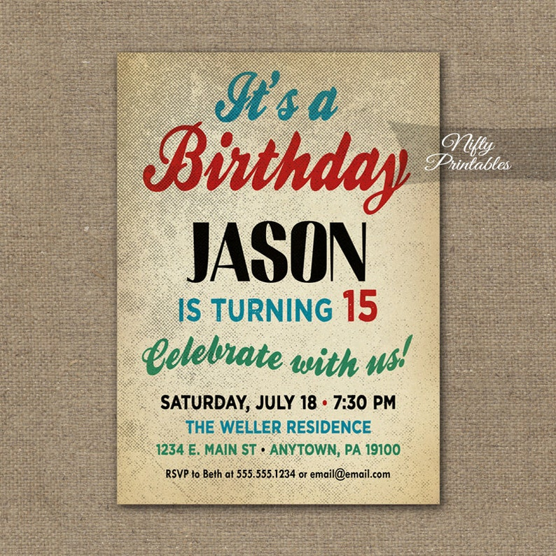 Teen Boy Birthday Invitations Boys Party Invitation