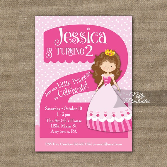 2nd Birthday Invitations Princess Invitation