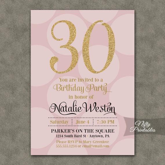 30th birthday invitations pink gold thirtieth birthday etsy image 0 filmwisefo