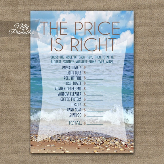 92576b49109c Price Is Right Game Ocean Bridal Shower Games Printable