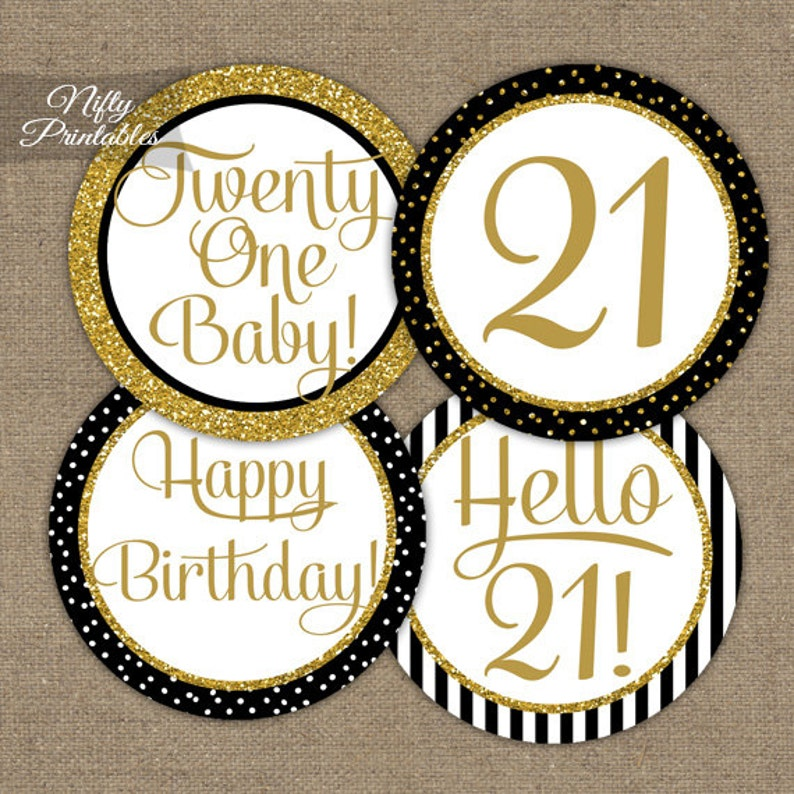 21st Birthday Cupcake Toppers Party