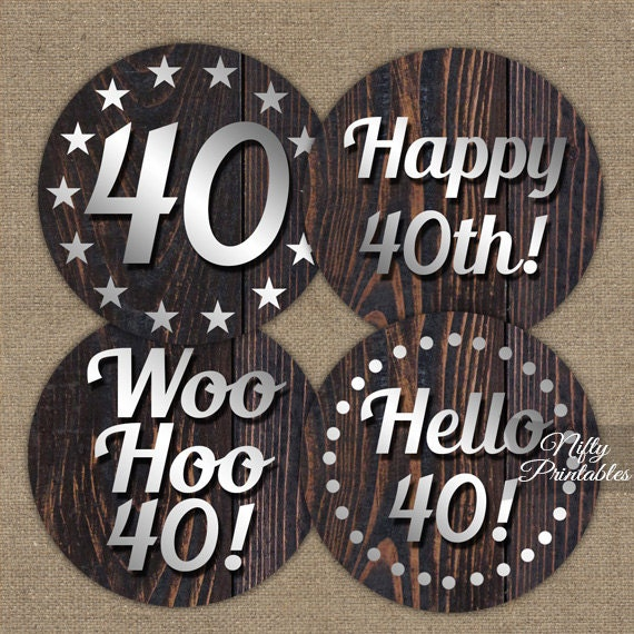 40th Birthday Cupcake Toppers Party