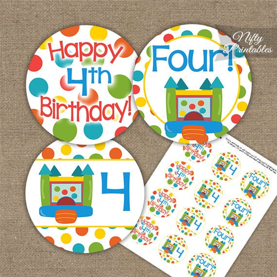 Bounce House 4th Birthday Cupcake Toppers Printable Bouncy