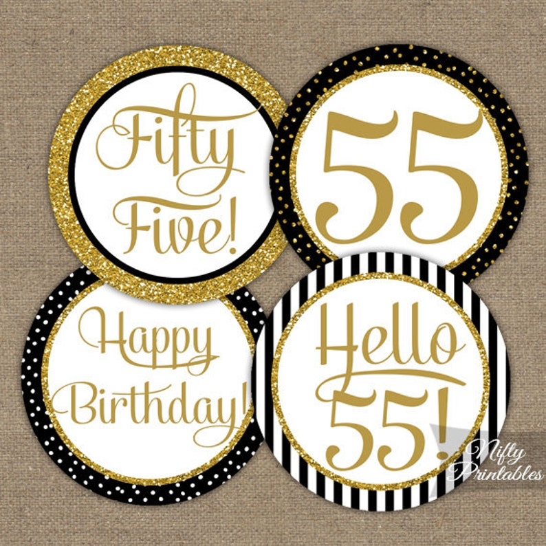 55th Birthday Cupcake Toppers Black Gold 55 Years Bday
