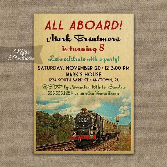 Train Birthday Invitations Printable Vintage Invites