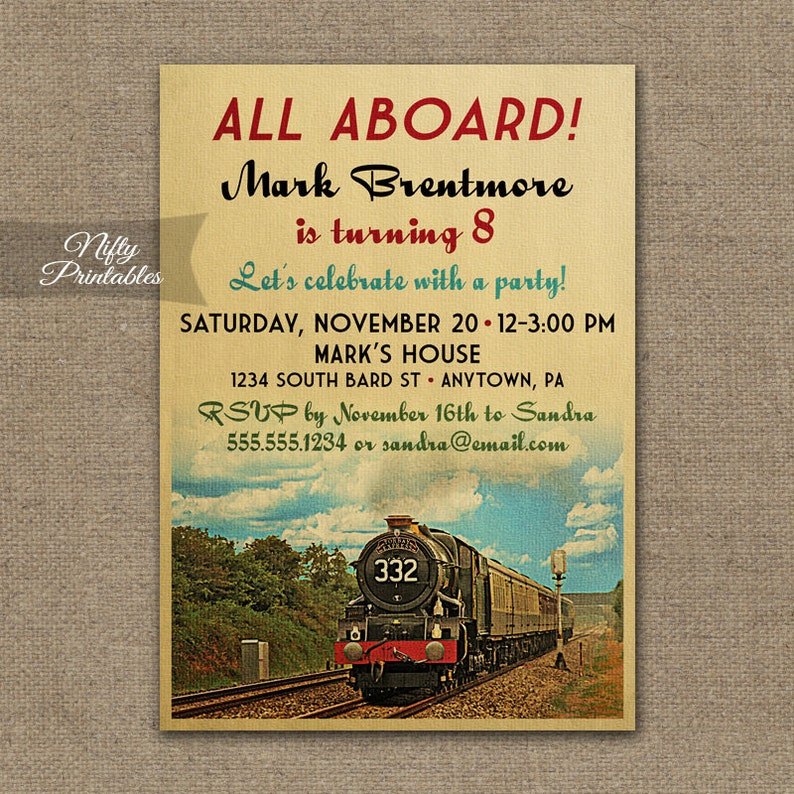 Train Birthday Invitations Printable Vintage Invites