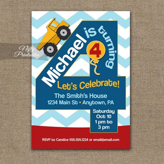 4th Birthday Invitation Construction Invitations
