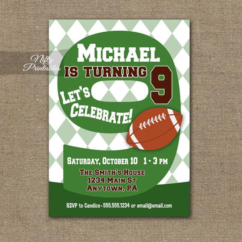 Football Birthday Invitation 9th Invitations