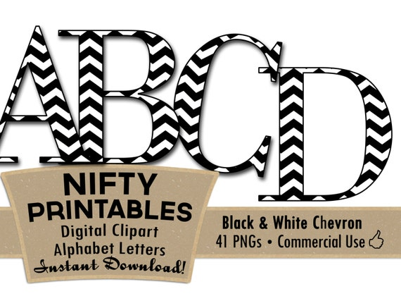 Black White College Chevron Digital Alphabet Letter Set