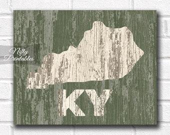 Kentucky Print - PRINTABLE 8x10 Kentucky Poster - Rustic Kentucky Art - Kentucky Gifts - Wood Style Kentucky State Decor - Shabby Art