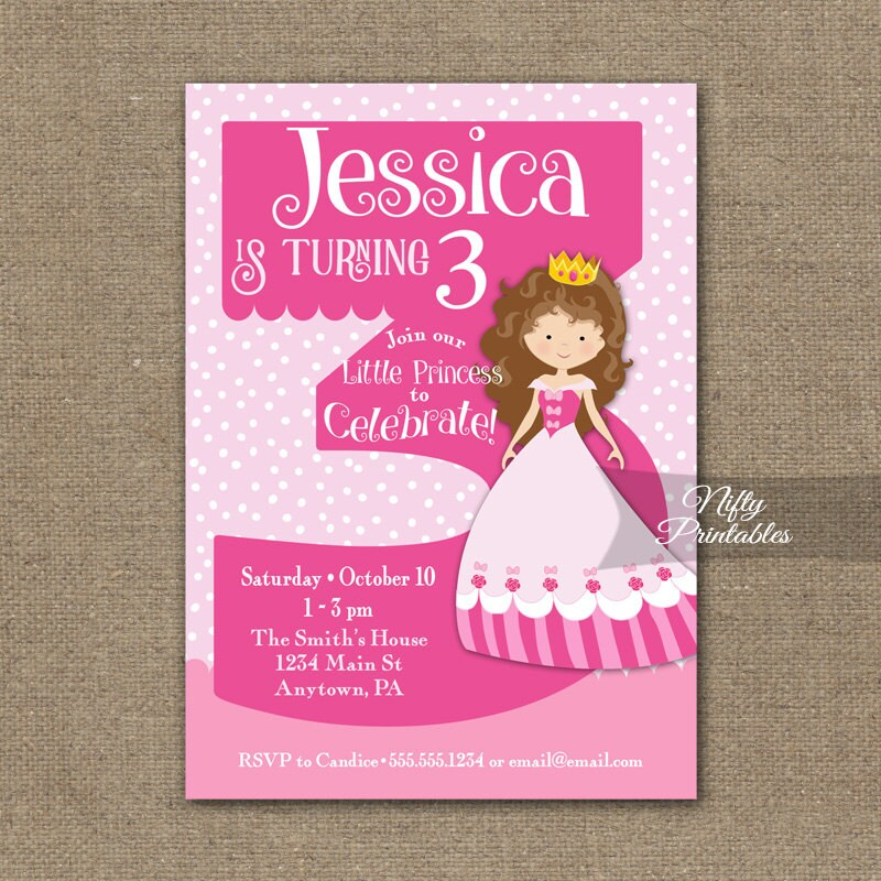 3rd Birthday Invitations Princess Invitation