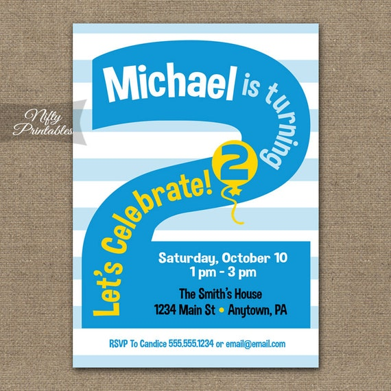 2nd Birthday Invitations Printable Second Invitation Party Blue Two Year Old Invites
