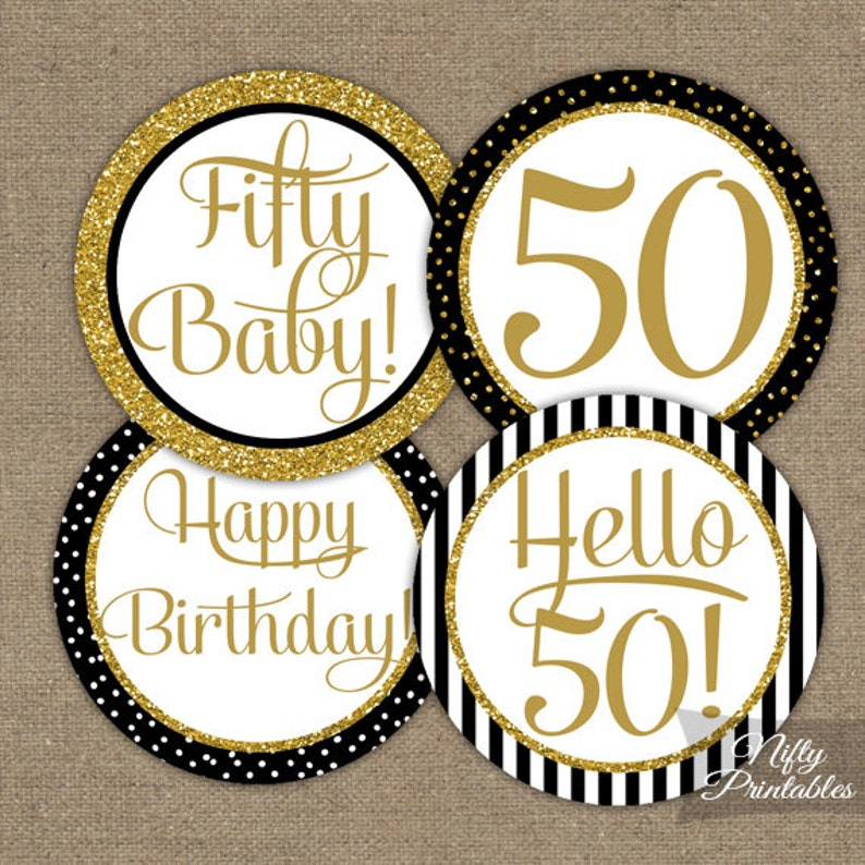 50th Birthday Cupcake Toppers Black Gold Glitter Party