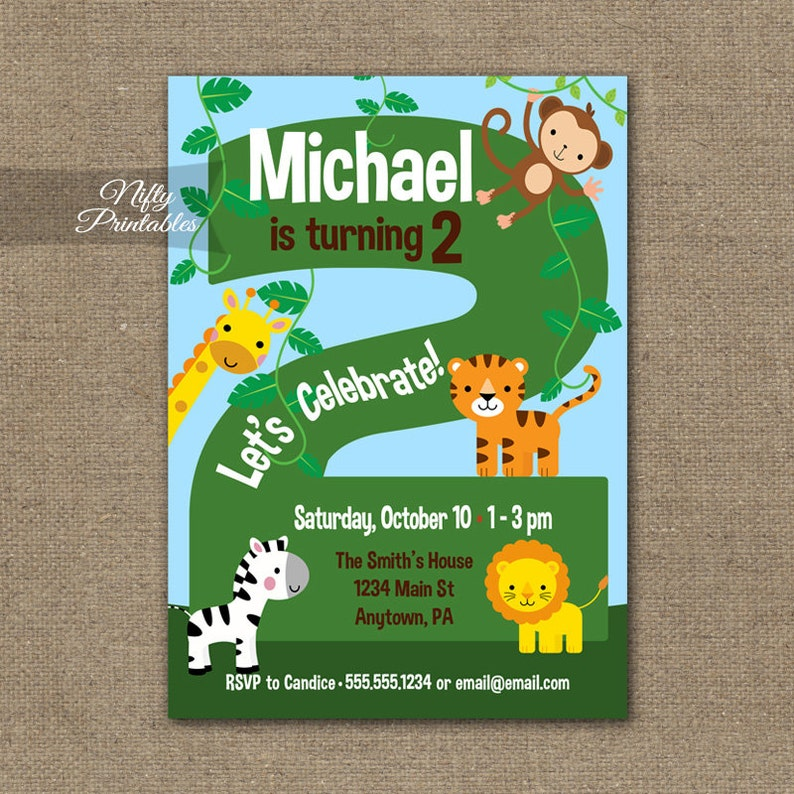 2nd Birthday Invitations Safari Invitation