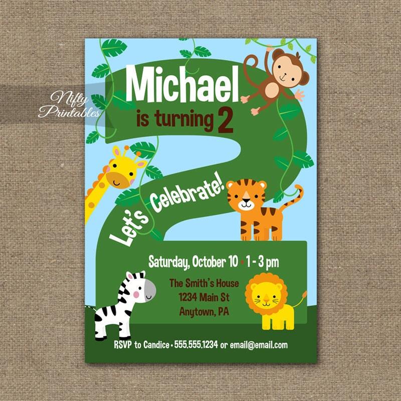 2nd Birthday Invitations Safari Invitation