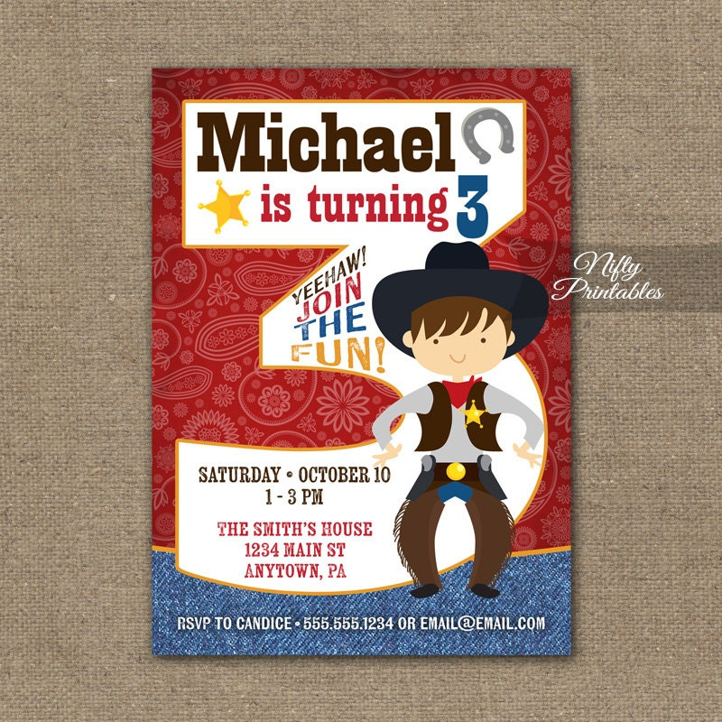 Cowboy Birthday Invitation 3rd Invitations Boys