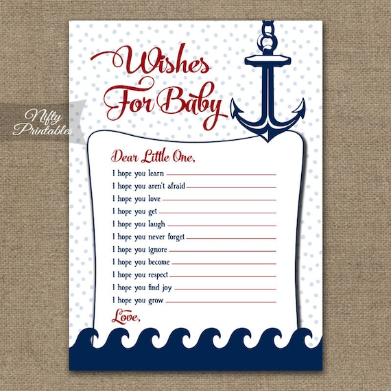 Nautical Wishes For Baby Game Nautical Baby Shower Games Etsy