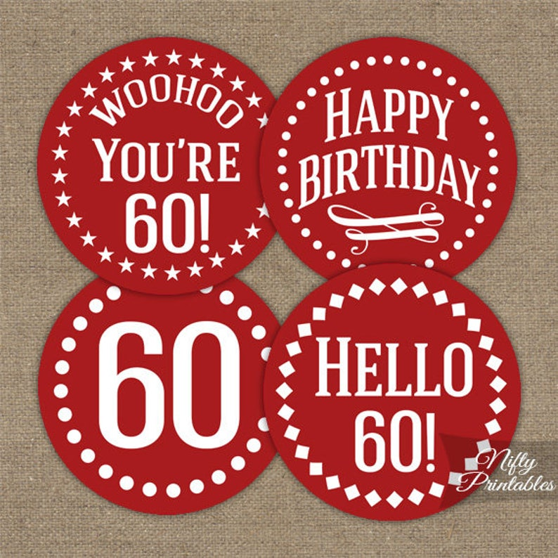 Red 60th Birthday Cupcake Toppers White